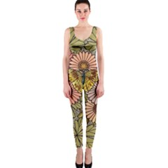 Flower Butterfly Cubism Mosaic One Piece Catsuit