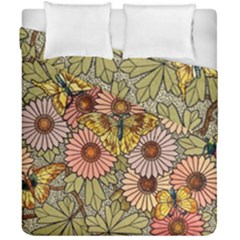 Flower Butterfly Cubism Mosaic Duvet Cover Double Side (california King Size)