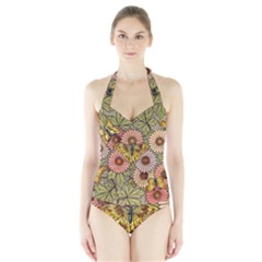 Flower Butterfly Cubism Mosaic Halter Swimsuit