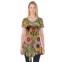 Flower Butterfly Cubism Mosaic Short Sleeve Tunic