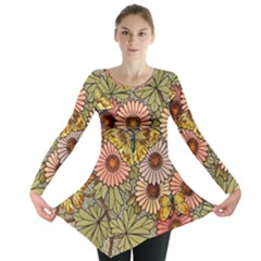Flower Butterfly Cubism Mosaic Long Sleeve Tunic