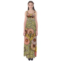 Flower Butterfly Cubism Mosaic Empire Waist Maxi Dress