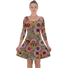 Flower Butterfly Cubism Mosaic Quarter Sleeve Skater Dress