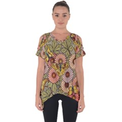 Flower Butterfly Cubism Mosaic Cut Out Side Drop Tee