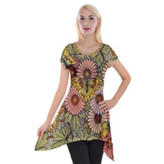 Flower Butterfly Cubism Mosaic Short Sleeve Side Drop Tunic