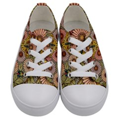 Flower Butterfly Cubism Mosaic Kids  Low Top Canvas Sneakers