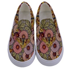 Flower Butterfly Cubism Mosaic Kids  Canvas Slip Ons