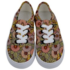 Flower Butterfly Cubism Mosaic Kids  Classic Low Top Sneakers