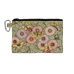 Flower Butterfly Cubism Mosaic Canvas Cosmetic Bag (medium) by Nexatart