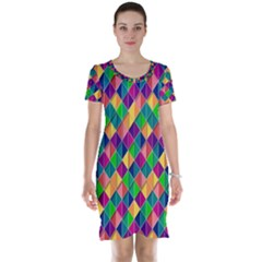 Background Geometric Triangle Short Sleeve Nightdress