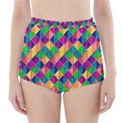 Background Geometric Triangle High Waisted Bikini Bottoms