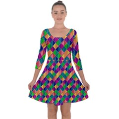 Background Geometric Triangle Quarter Sleeve Skater Dress