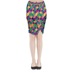 Background Geometric Triangle Midi Wrap Pencil Skirt