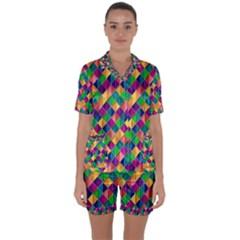 Background Geometric Triangle Satin Short Sleeve Pyjamas Set