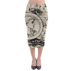 Young Old Man Weird Funny Midi Pencil Skirt
