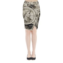 Young Old Man Weird Funny Midi Wrap Pencil Skirt