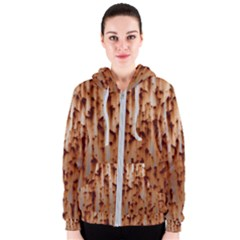 Stainless Rusty Metal Iron Old Women s Zipper Hoodie