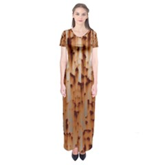Stainless Rusty Metal Iron Old Short Sleeve Maxi Dress