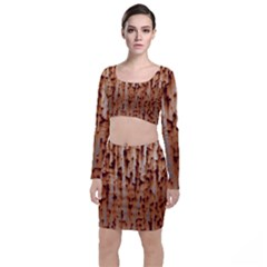 Stainless Rusty Metal Iron Old Long Sleeve Crop Top & Bodycon Skirt Set