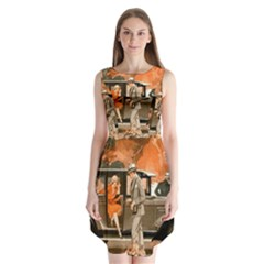 Car Automobile Transport Passenger Sleeveless Chiffon Dress