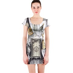 Vintage People Party Celebrate Short Sleeve Bodycon Dress