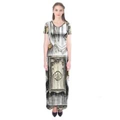 Vintage People Party Celebrate Short Sleeve Maxi Dress