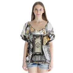 Vintage People Party Celebrate V Neck Flutter Sleeve Top