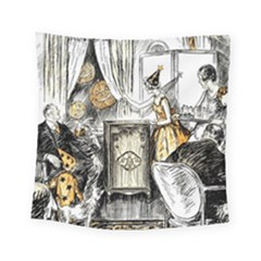 Vintage People Party Celebrate Square Tapestry (small)
