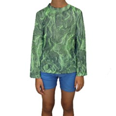 Green Geological Surface Background Kids  Long Sleeve Swimwear