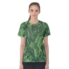 Green Geological Surface Background Women s Cotton Tee