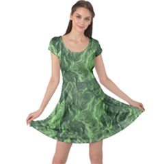Green Geological Surface Background Cap Sleeve Dress
