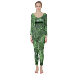 Green Geological Surface Background Long Sleeve Catsuit