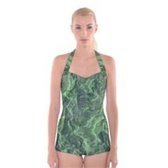 Green Geological Surface Background Boyleg Halter Swimsuit