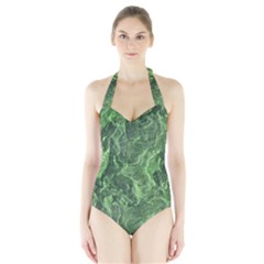 Green Geological Surface Background Halter Swimsuit