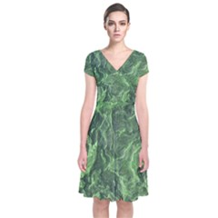Green Geological Surface Background Short Sleeve Front Wrap Dress