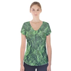 Green Geological Surface Background Short Sleeve Front Detail Top