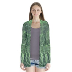 Green Geological Surface Background Drape Collar Cardigan