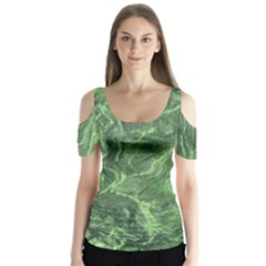Green Geological Surface Background Butterfly Sleeve Cutout Tee