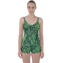 Green Geological Surface Background Tie Front Two Piece Tankini