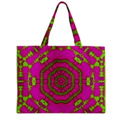 Fern Forest Star Mandala Decorative Zipper Mini Tote Bag by pepitasart