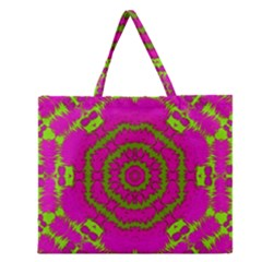 Fern Forest Star Mandala Decorative Zipper Large Tote Bag by pepitasart