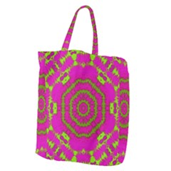 Fern Forest Star Mandala Decorative Giant Grocery Zipper Tote by pepitasart