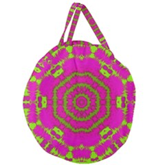 Fern Forest Star Mandala Decorative Giant Round Zipper Tote by pepitasart