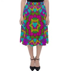 Hearts In A Mandala Scenery Of Fern Folding Skater Skirt by pepitasart