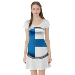 Finland Country Flag Countries Short Sleeve Skater Dress