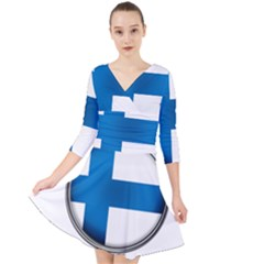 Finland Country Flag Countries Quarter Sleeve Front Wrap Dress