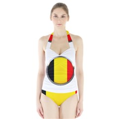 Belgium Flag Country Brussels Halter Swimsuit