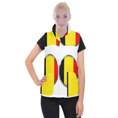 Belgium Flag Country Brussels Women s Button Up Puffer Vest