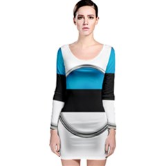 Estonia Country Flag Countries Long Sleeve Bodycon Dress