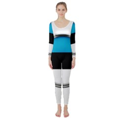 Estonia Country Flag Countries Long Sleeve Catsuit